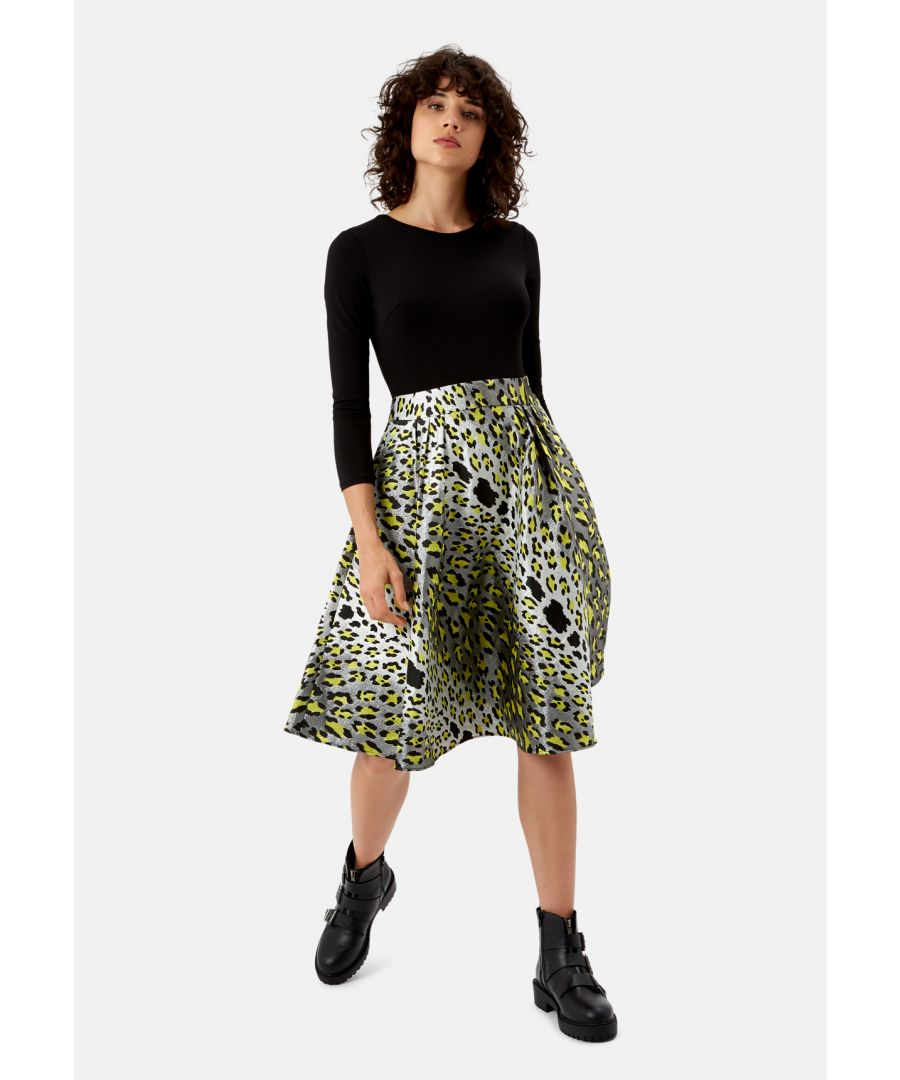 Image for Big Cheetah Print Midi Dress in Silver, Yellow and Black