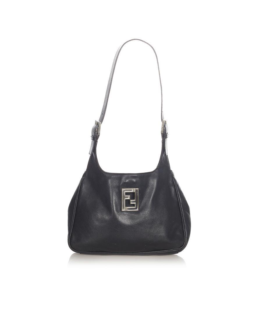 Image for Vintage Fendi Leather Shoulder Bag Black
