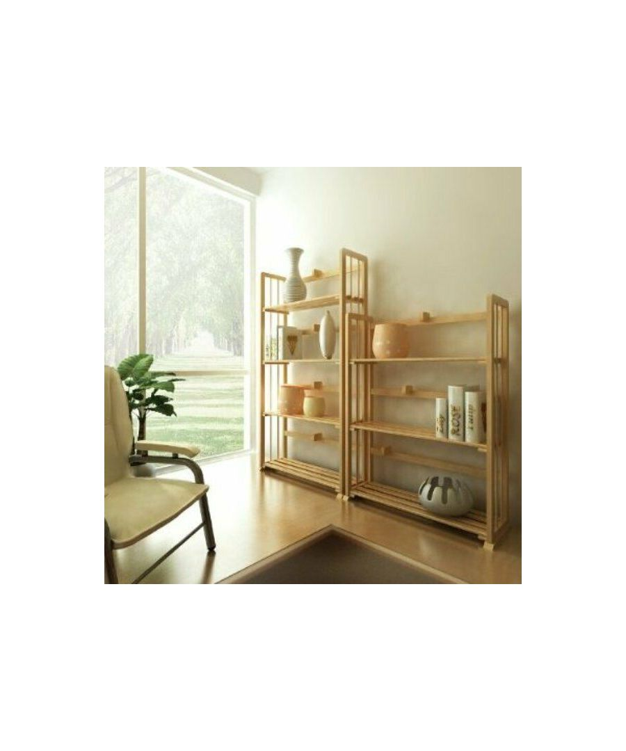 Image for Furinno Pine Solid Wood 4-Tier Bookshelf, Natural Home Decorations