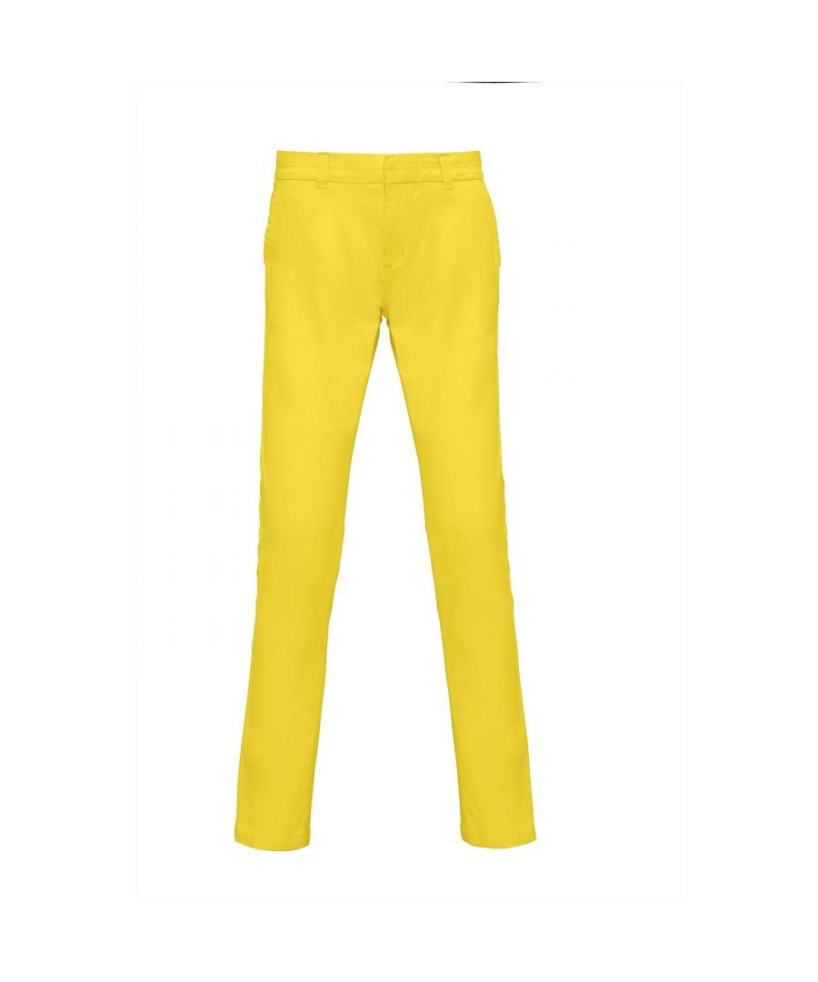 Image for Asquith & Fox Womens/Ladies Casual Chino Trousers (Lemon Zest)