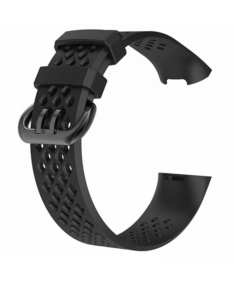 Image for Aquarius Holes Silicone Watch Band for Fitbit Charge 3 Black Large