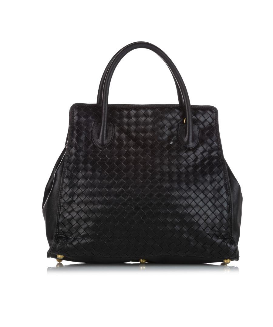 Image for Vintage Bottega Veneta Intrecciato Leather Handbag Black