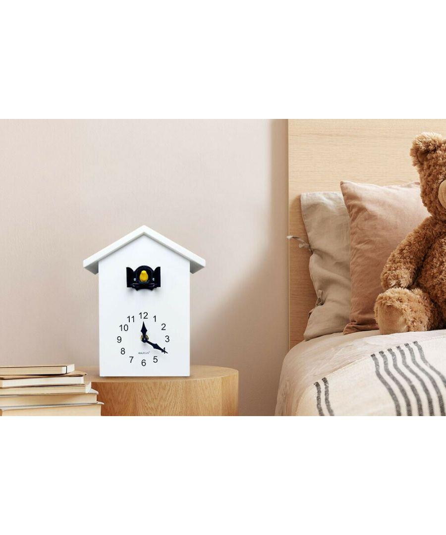 Image for Walplus White Cuckoo Table Clock - Black Window, Bedroom, Living room, Modern, Home office essential, Gift