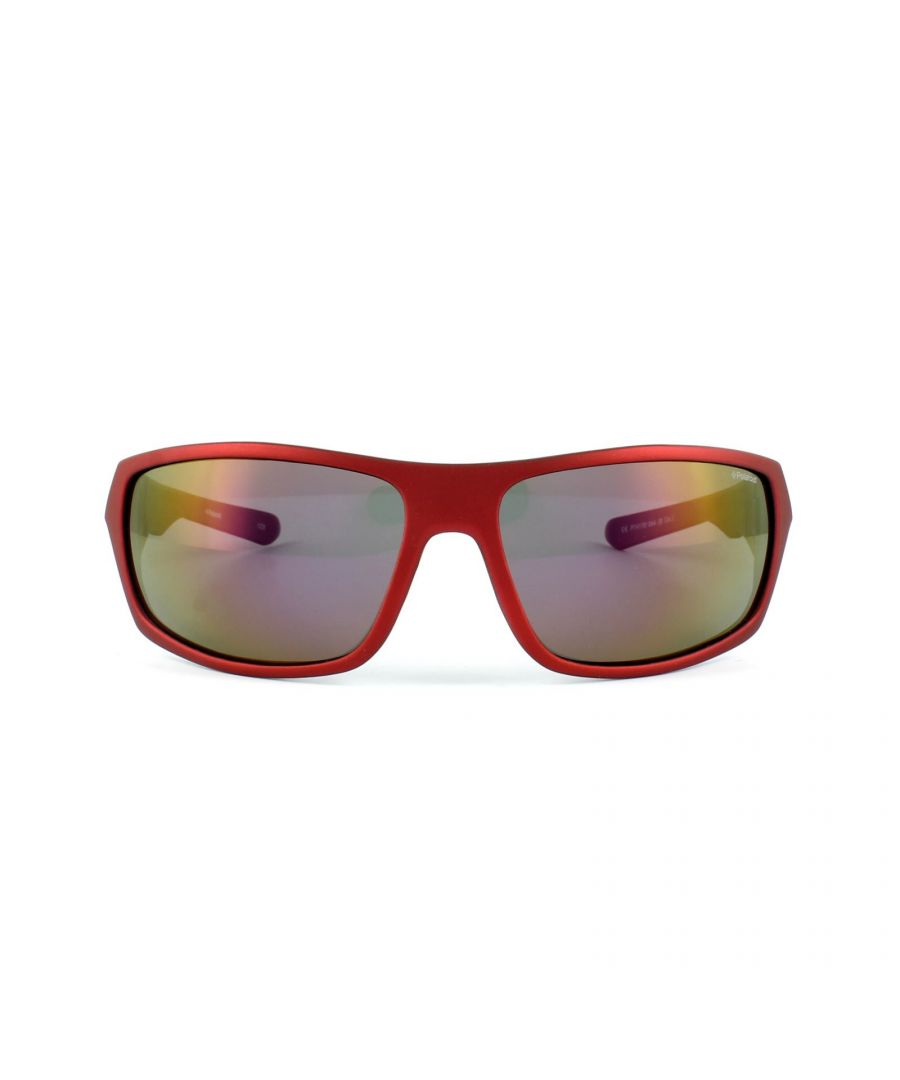 Image for Polaroid Sport Sunglasses P7417 0A4/JB Red & Black Yellow Red Polarized
