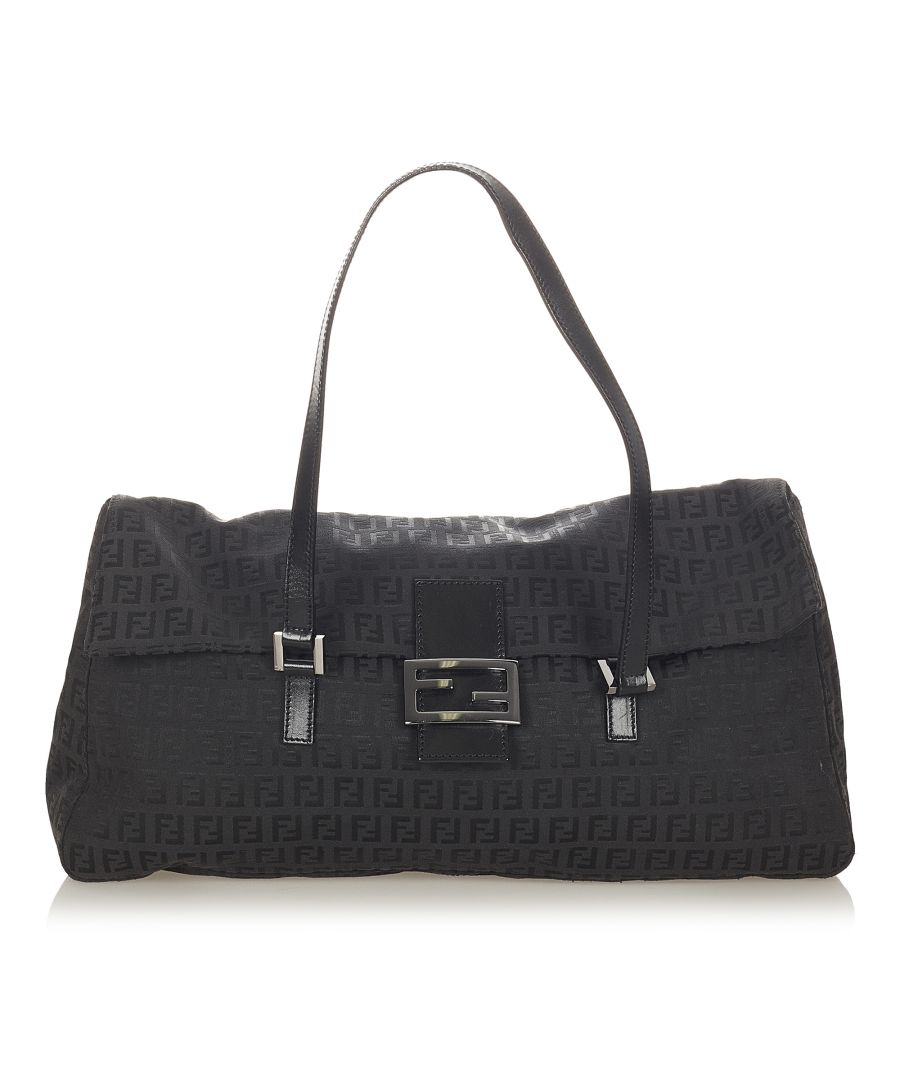 Image for Vintage Fendi Zucchino Canvas Shoulder Bag Black