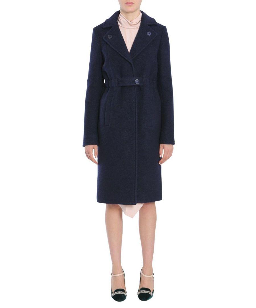 Image for CARVEN WOMEN'S 1001M224590 BLUE WOOL COAT
