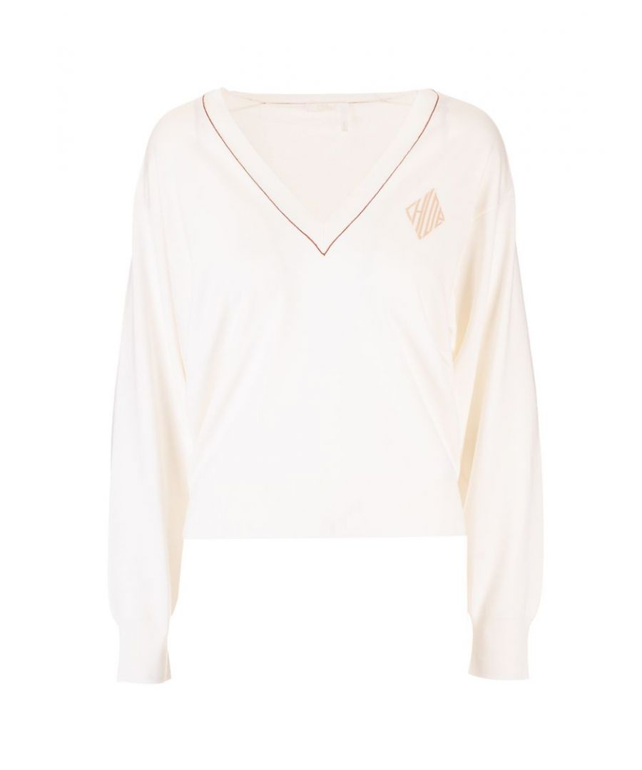 Image for CHLOÉ WOMEN'S CHC20SMP69600101 WHITE WOOL SWEATER