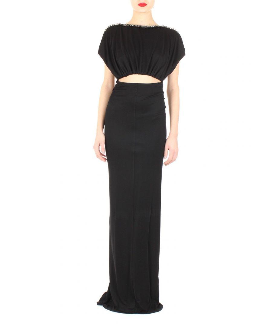 Image for ELISABETTA FRANCHI WOMEN'S AB00502E2110 BLACK POLYESTER DRESS