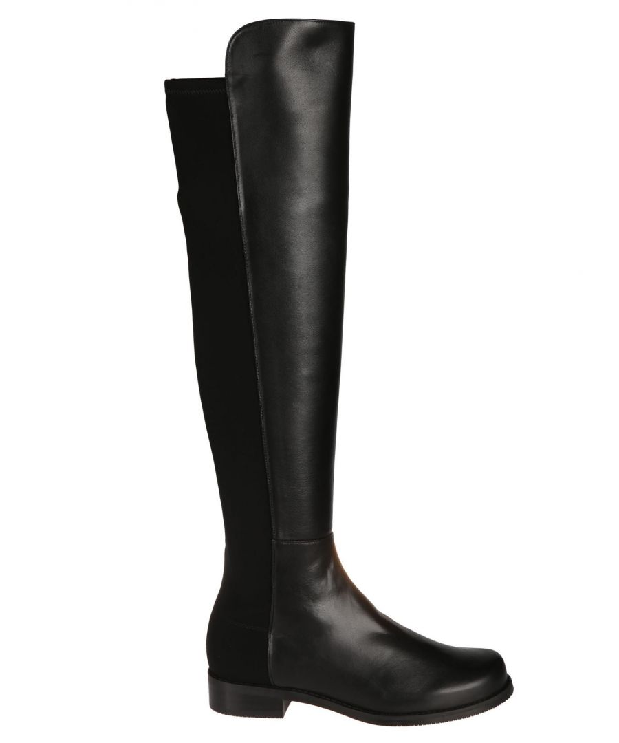 Image for STUART WEITZMAN WOMEN'S 5050BLACK BLACK LEATHER BOOTS