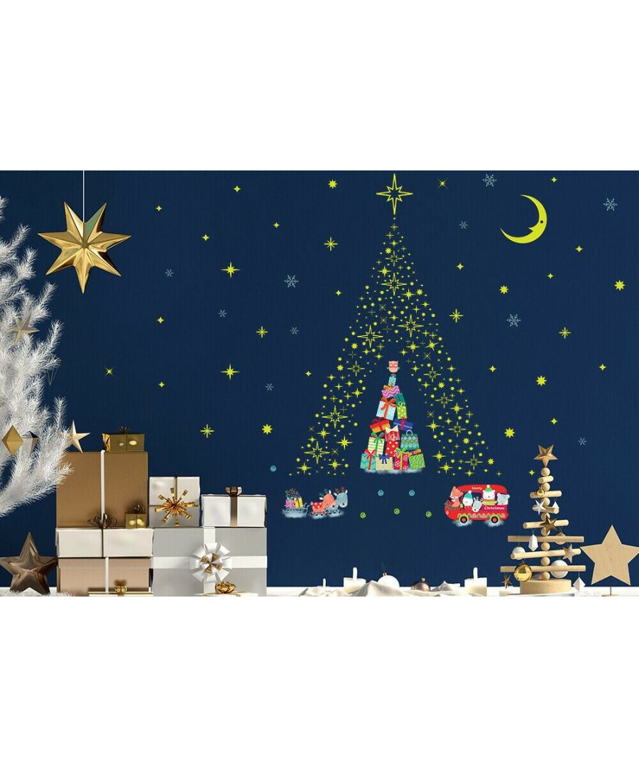 Image for Lovely Glow Stars and Reindeer Christmas Tree Christmas Wall Stickers, Kitchen, Bathroom, Living room, Self-adhesive, Decal