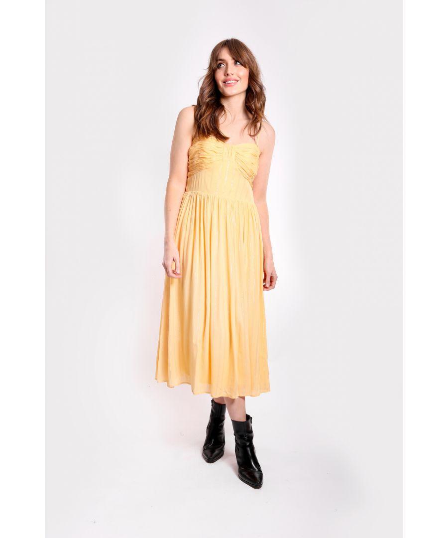 Image for Metallic Stripe Darcy Dress in Cream