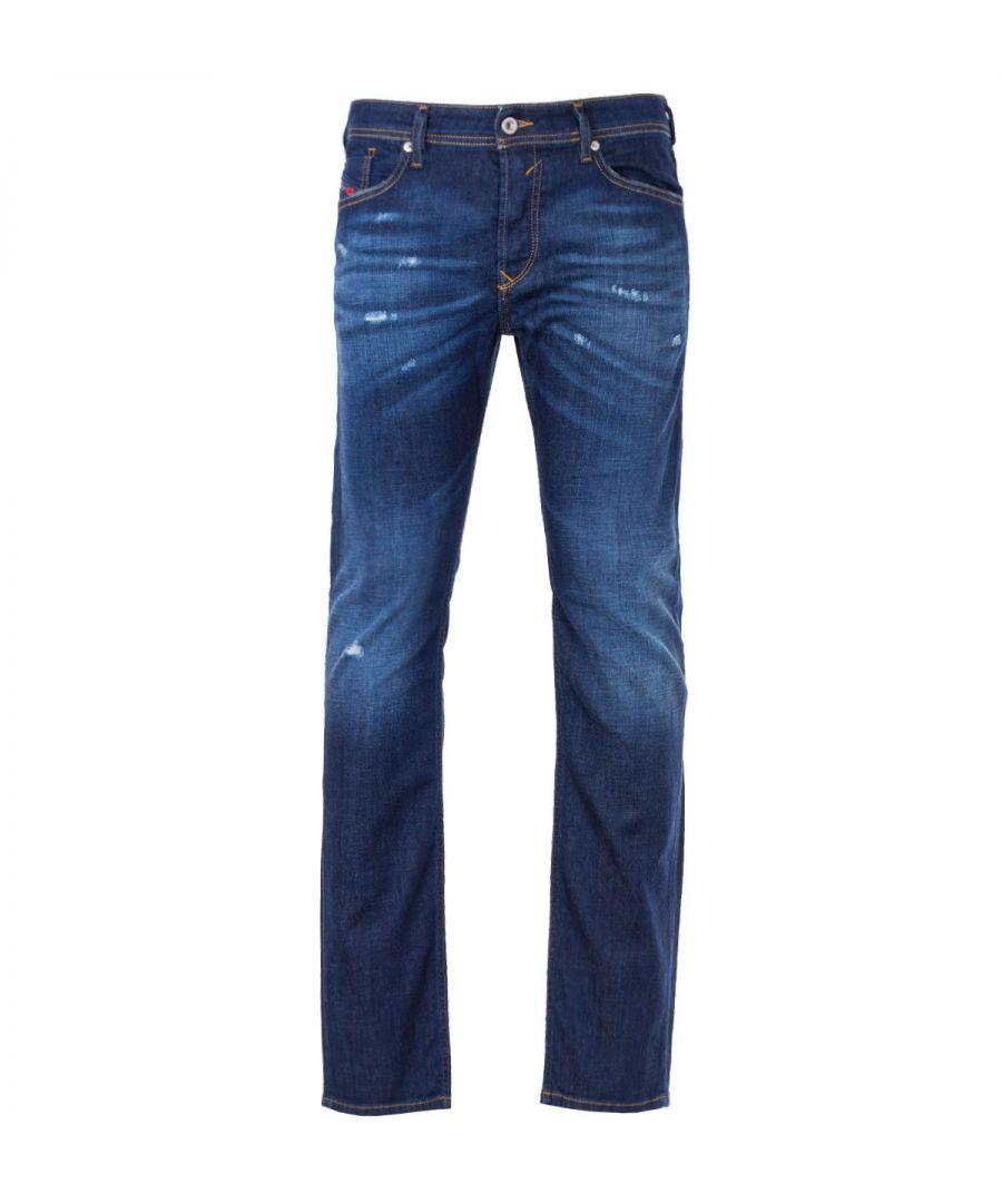 Image for Diesel Waykee Straight Fit Jeans - Distressed Dark Blue