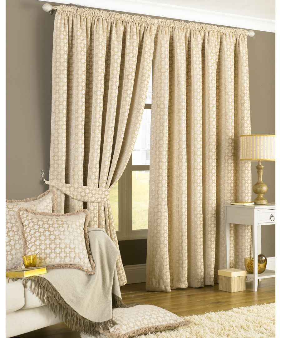 Image for Belmont Chenille Geometric Eyelet Curtains in Beige