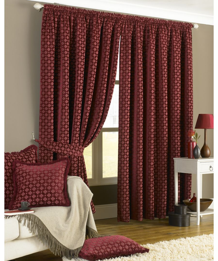 Image for Belmont Chenille Geometric Pencil Pleat Curtains in Claret