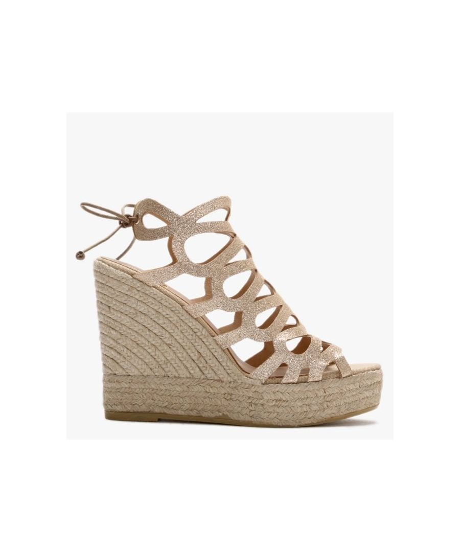 Image for Kanna Berti Leather Caged Wedge Espadrilles