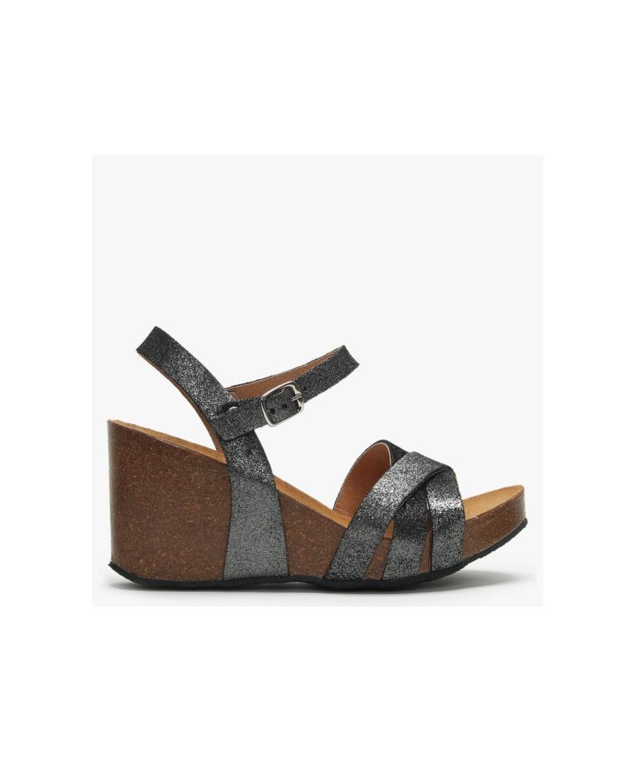 Image for Daniel Beverlywood Metallic Leather Wedge Sandals