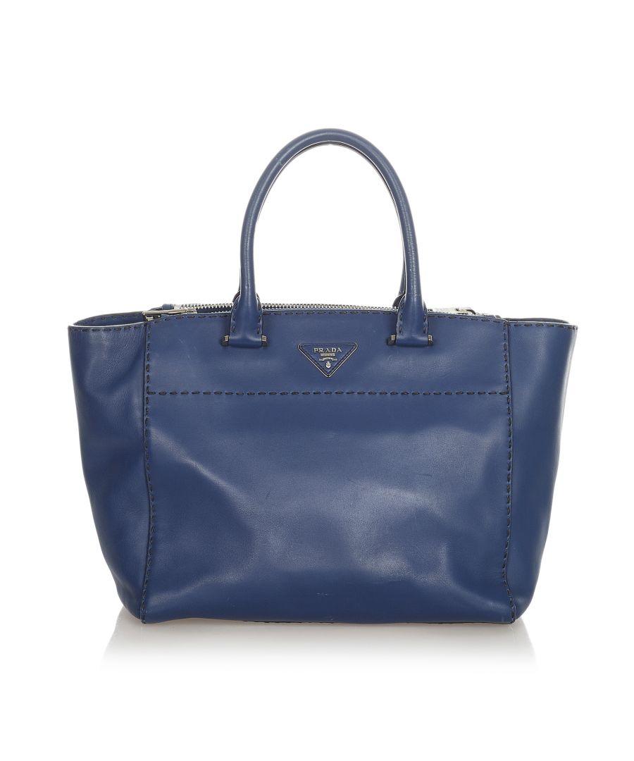 Image for Vintage Prada Caflskin Stitched Tote Bag Blue