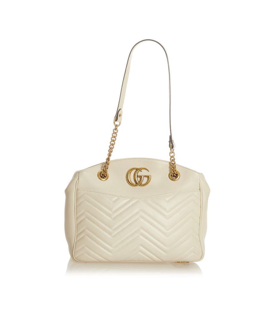 Image for Vintage Gucci GG Marmont Matelasse Leather Shoulder Bag White