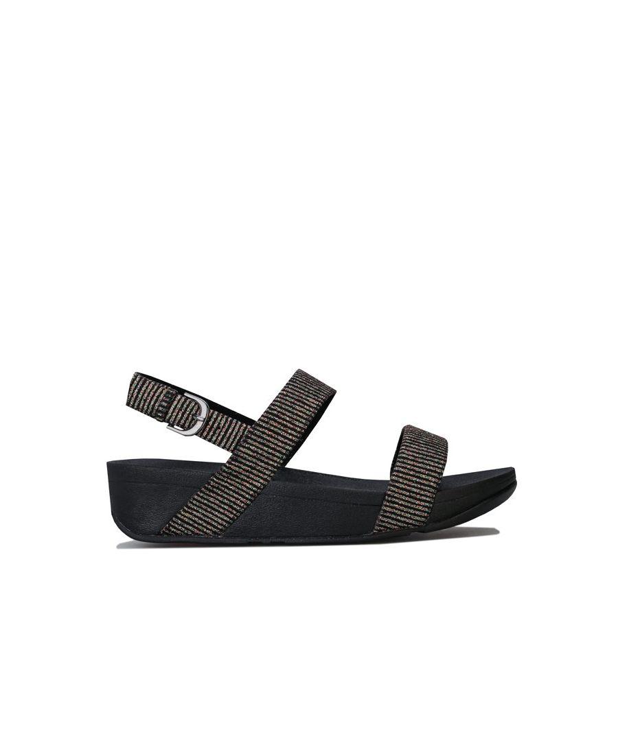 Image for Women's Fit Flop Lottie Glitter Stripe Back Strap Sandals in Black
