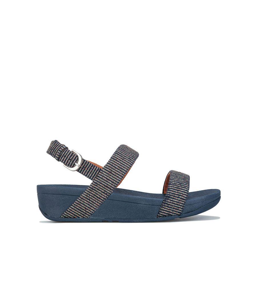 Image for Women's Fit Flop Lottie Glitter Stripe Back Strap Sandals in Navy