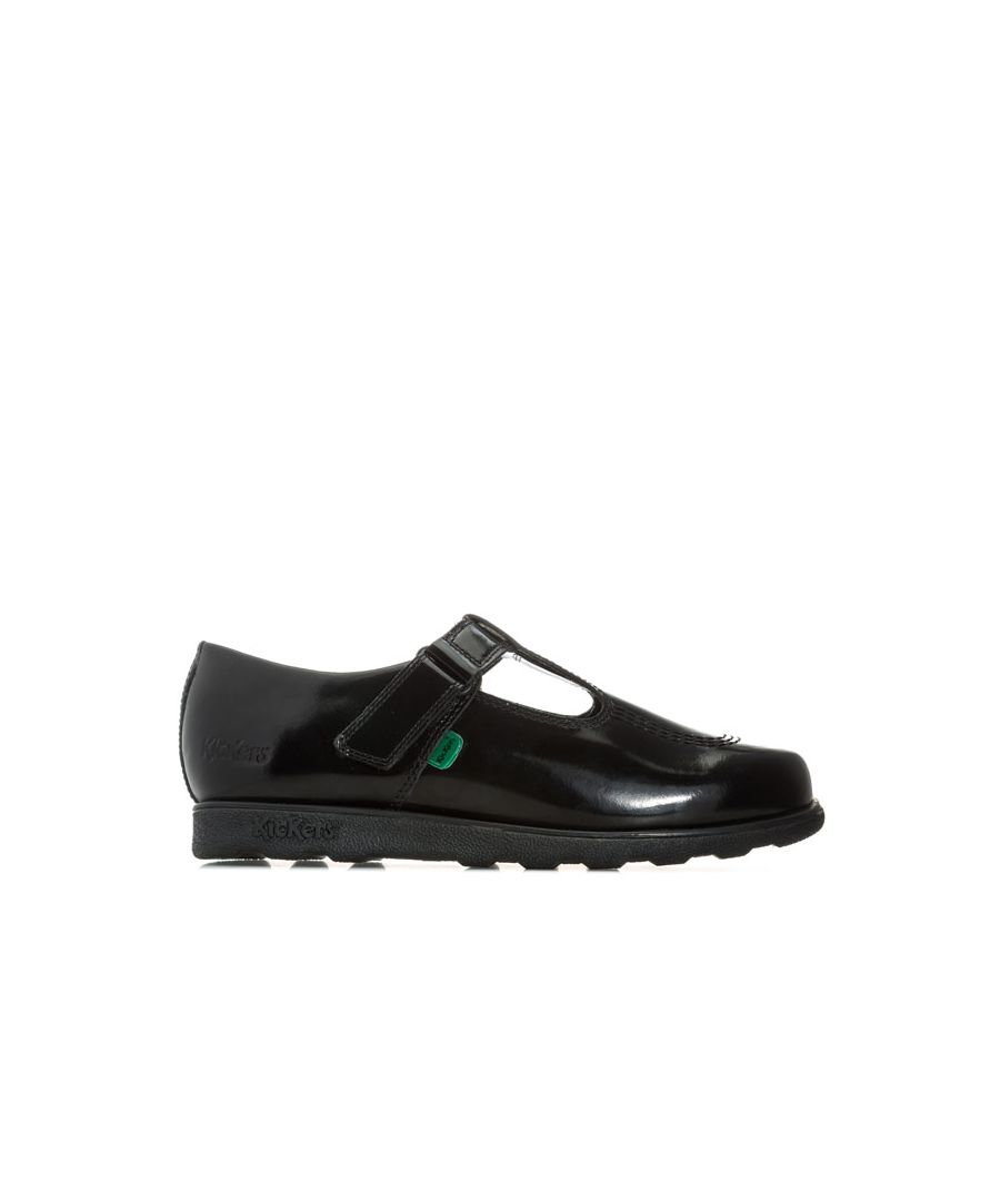 Image for Girls' Kickers Junior Fragma T-Bar Patent Shoes in Black