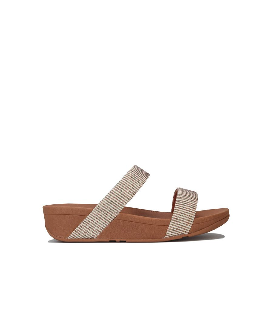 Image for Women's Fit Flop Lottie Glitter Stripe Slide Sandals in Stone