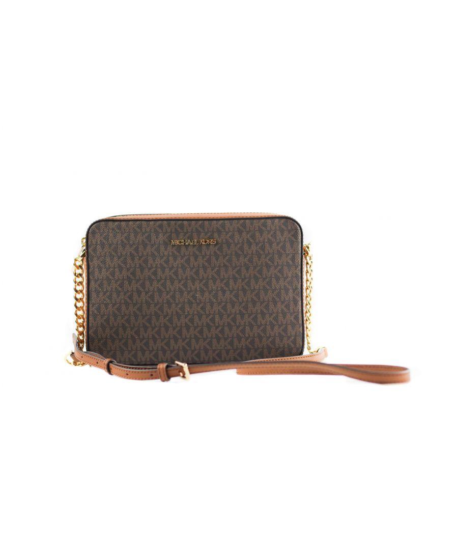 Image for Michael Kors Jet Set Large East West Saffiano Leather Crossbody Bag Handbag [Brown Signature]