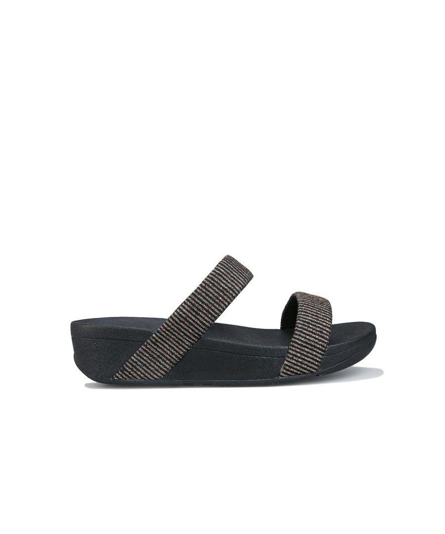 Image for Women's Fit Flop Lottie Glitter Stripe Slide Sandals Black UK 3in Black