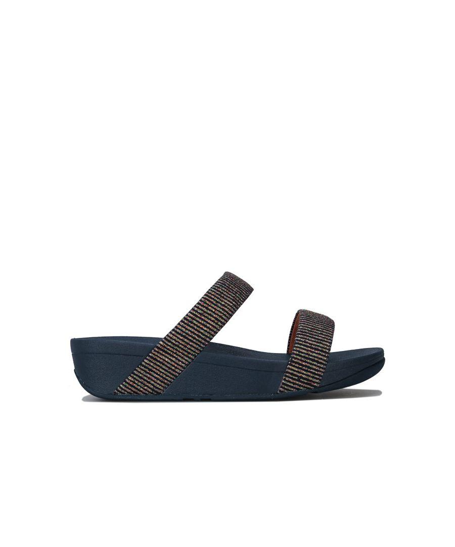 Image for Women's Fit Flop Lottie Glitter Stripe Slide Sandals in Navy