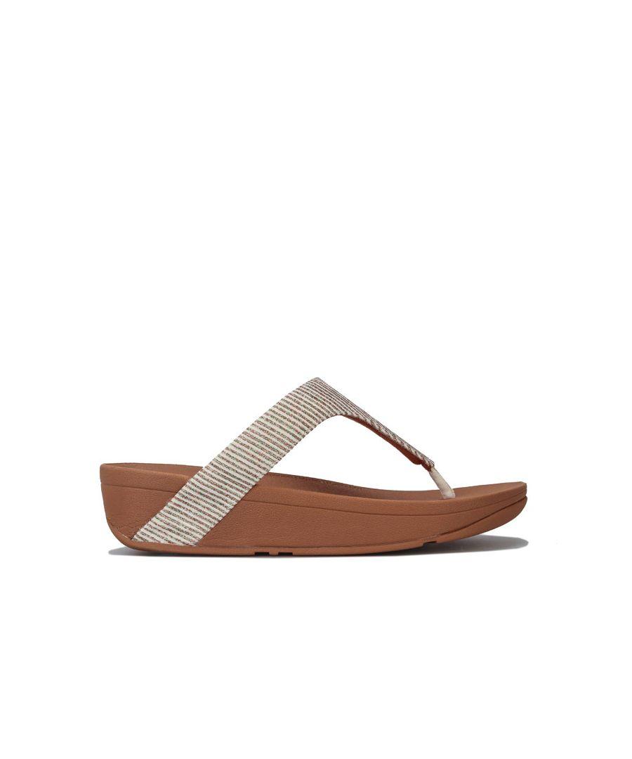 Image for Women's Fit Flop Lottie Glitter Stripe Toe Thong Sandals in Stone