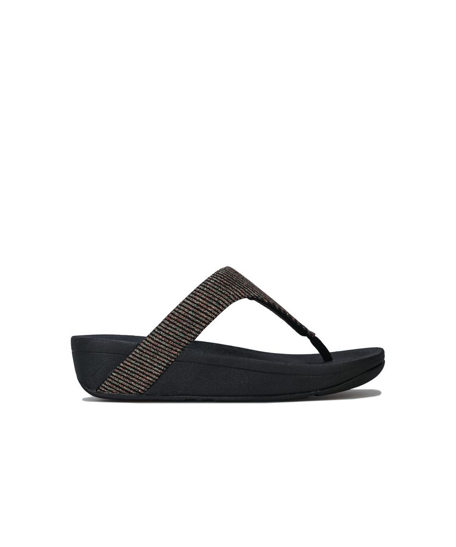Image for Women's Fit Flop Lottie Glitter Stripe Toe Thong Sandals in Black