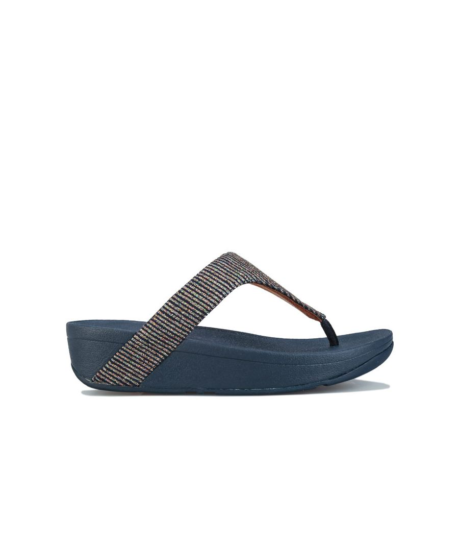 Image for Women's Fit Flop Lottie Glitter Stripe Toe Thong Sandals in Navy