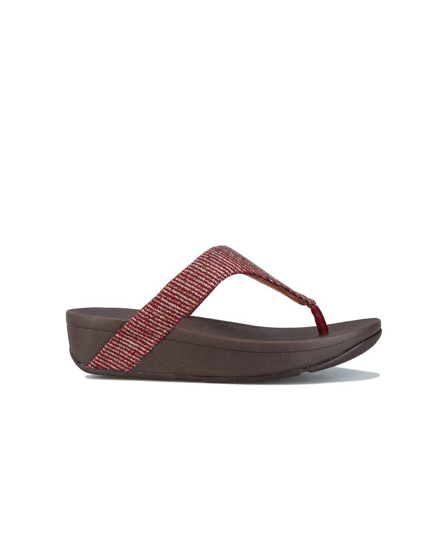 Image for Women's Fit Flop Lottie Glitter Stripe Toe Thong Sandals in Burgundy