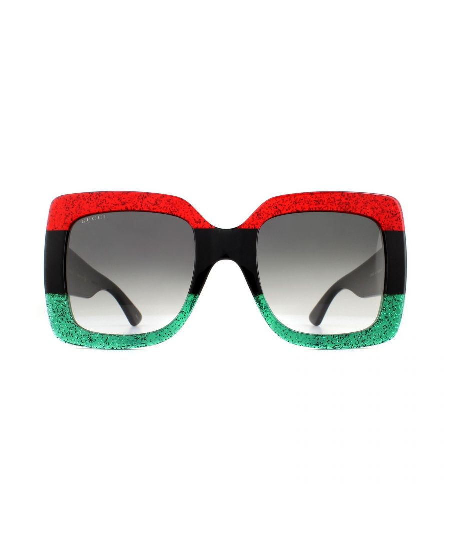 Image for Gucci Sunglasses GG0083S 001 Red and Green Glitter with Black Grey Gradient