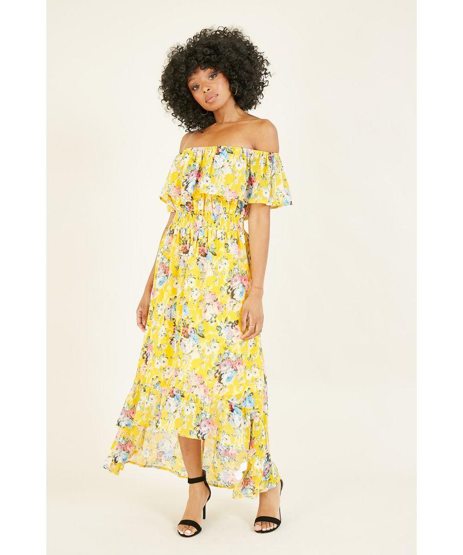 Image for Mela Yellow Floral Bardot Dress