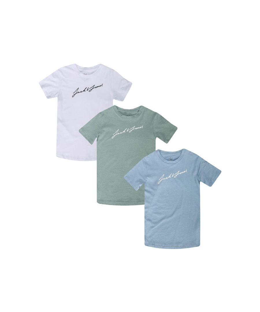 Image for Boys' Jack Jones Junior Jax 3 Pack T-Shirt in White blue