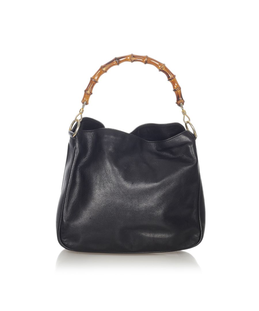 Image for Vintage Gucci Bamboo Leather Satchel Black