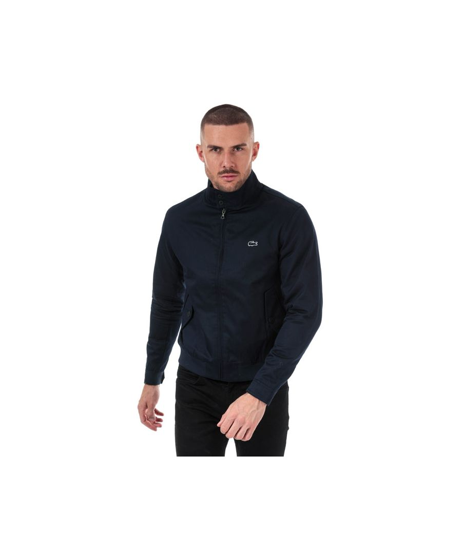 Image for Men's Lacoste Short Zip Cotton Twill Jacket in Navy