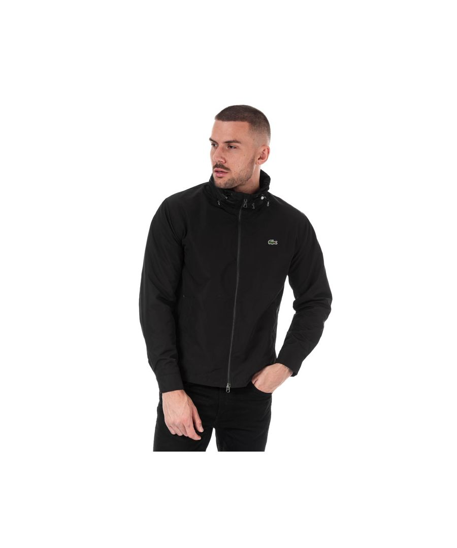 Image for Men's Lacoste Short Zip Cotton Twill Jacket in Black