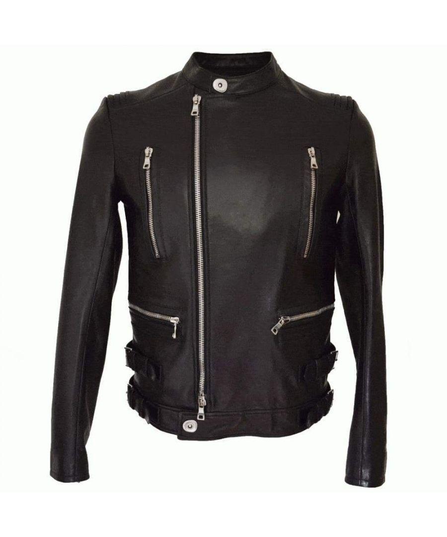 Image for Balmain Black Leather Biker Jacket