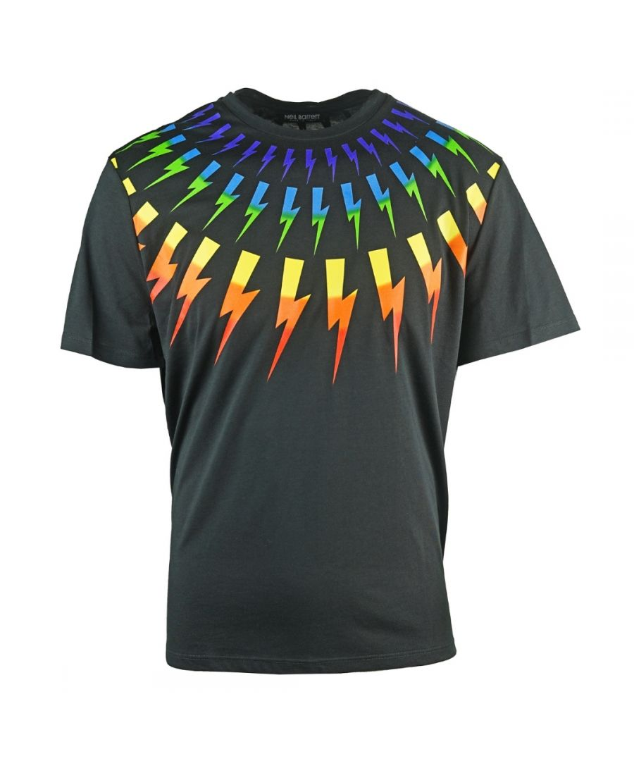 Image for Neil Barrett Multicolour Lightning Bolt Black Oversize Tee