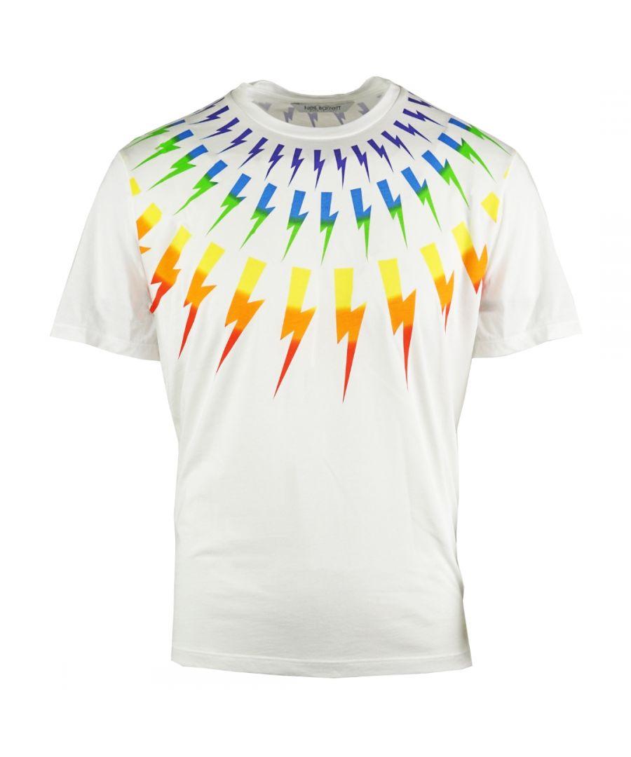Image for Neil Barrett Multicolour Lightning Bolt White Oversize Tee