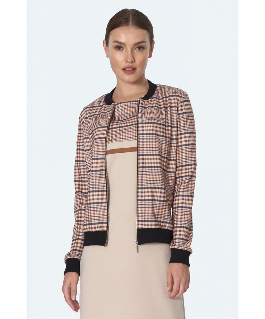 Image for Bomber jacket in beige checkered