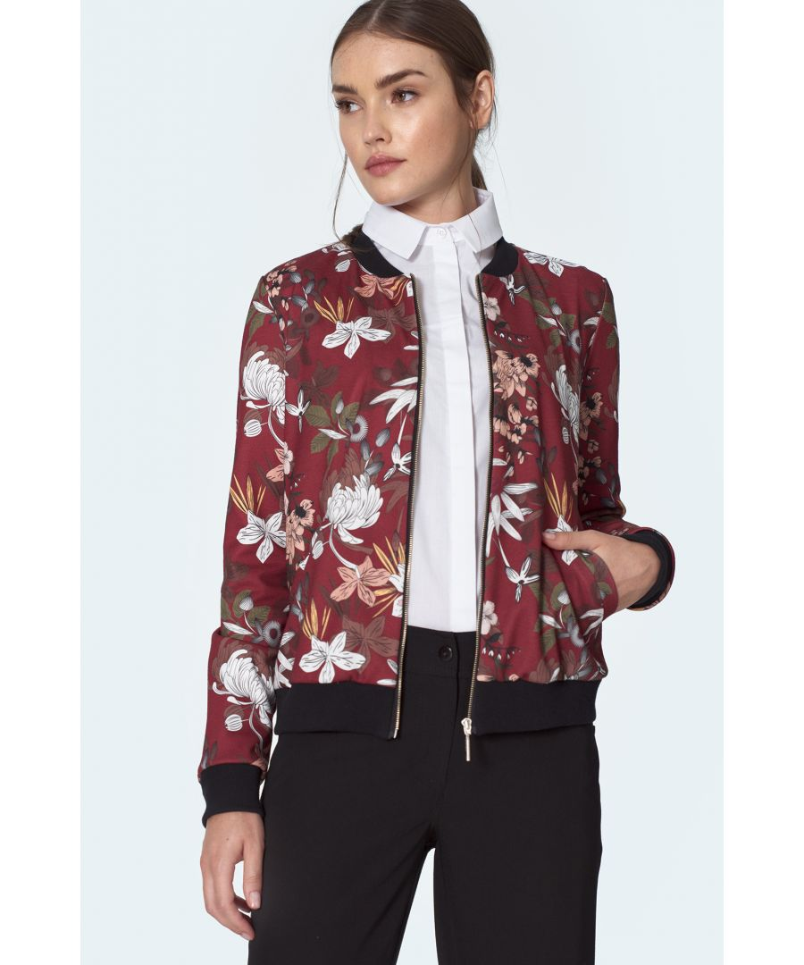 Image for Claret bomber jacket in flowers