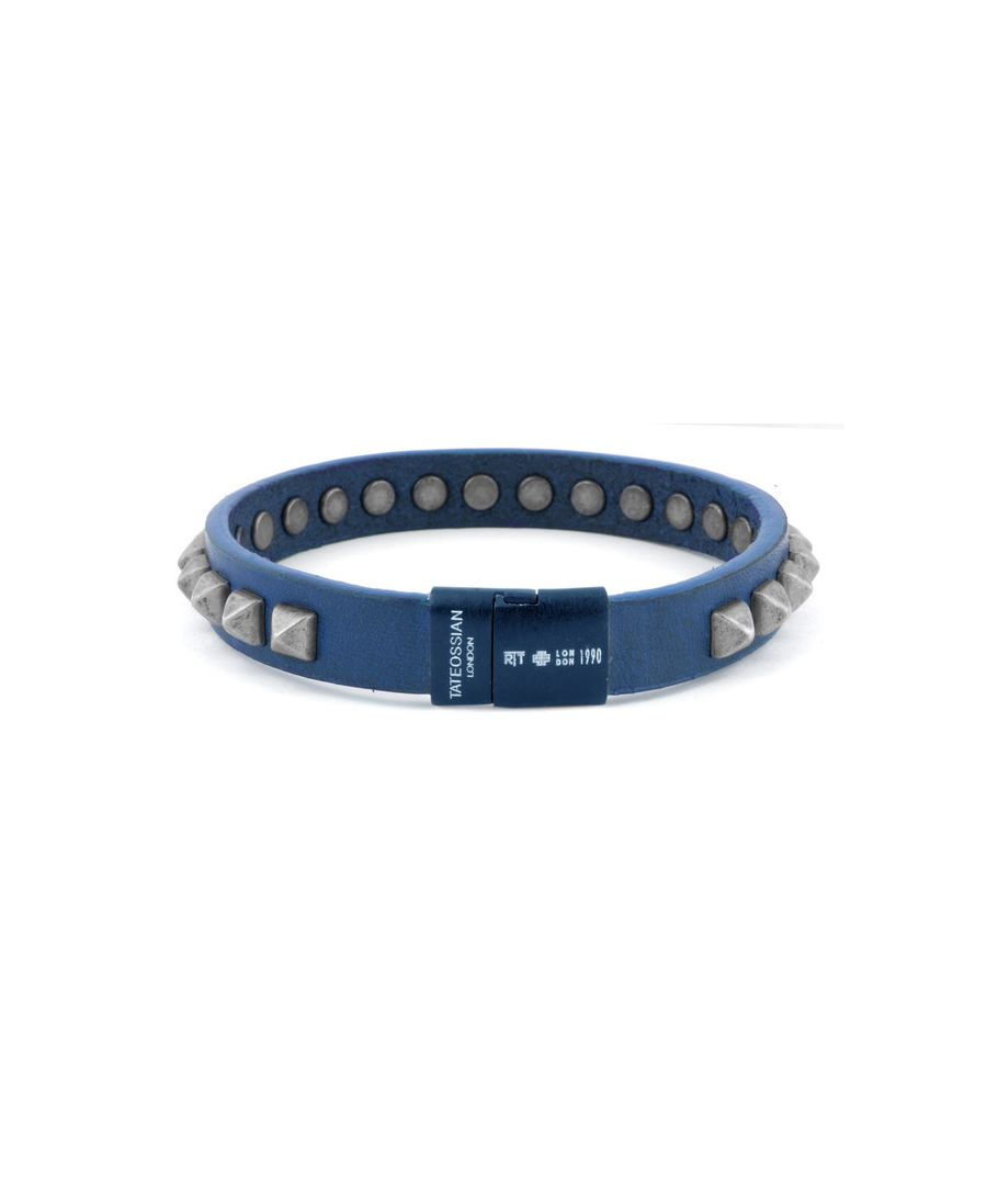 Image for Blue pyramid studs leather bracelet