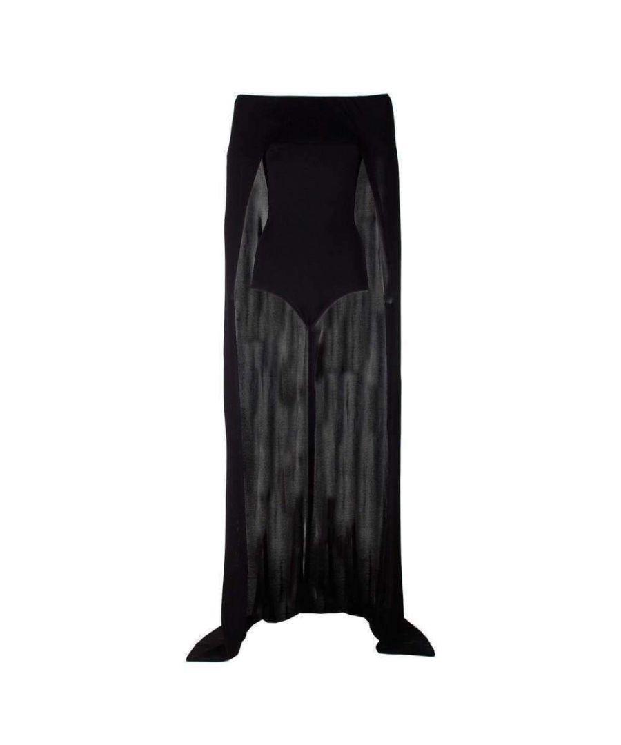 Image for Balmain Black Off-Shoulder Cape Bodysuit