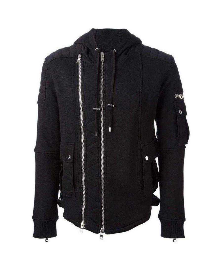 Image for Balmain Black Biker Hoodie Jacket
