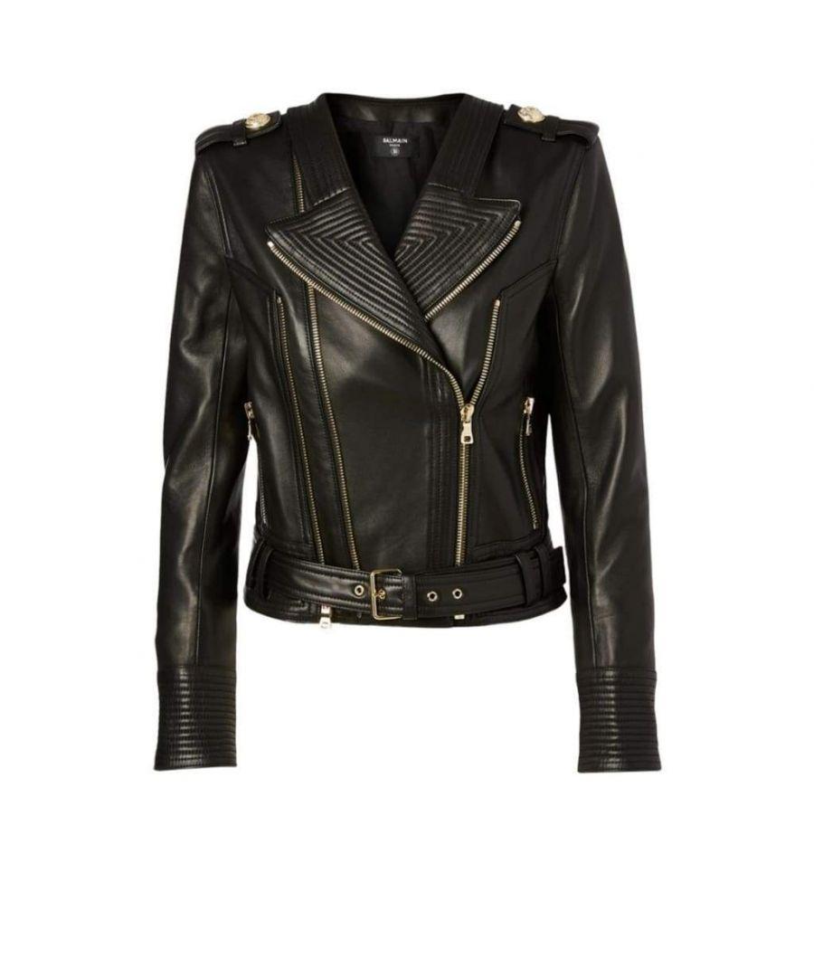 Image for Balmain Black Buckle Belt Leather Jacket