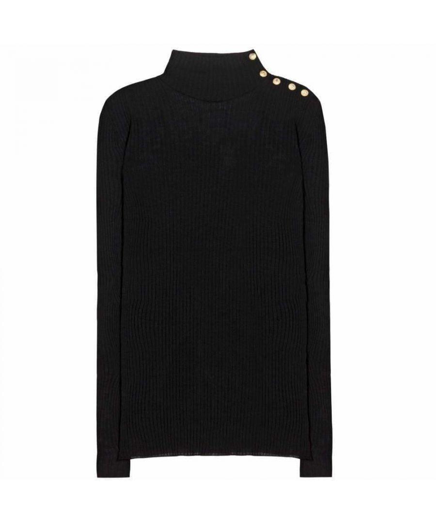 Image for Balmain Black Embellished Wool Turtleneck Sweater