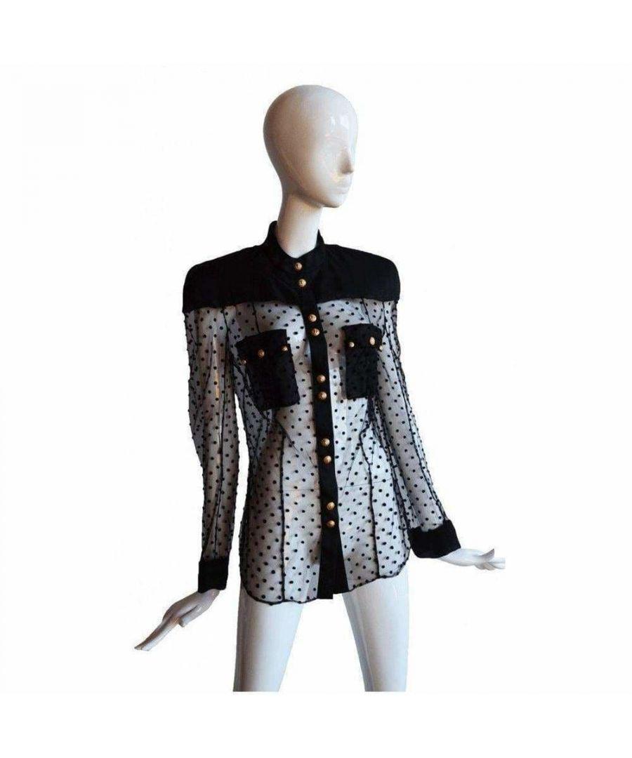 Image for Balmain Long Sleeve Black Polka Dot Silk Shirt